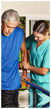 caregiver assisting the patients doing therapy